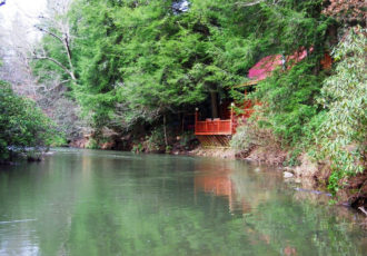 river rock cabin